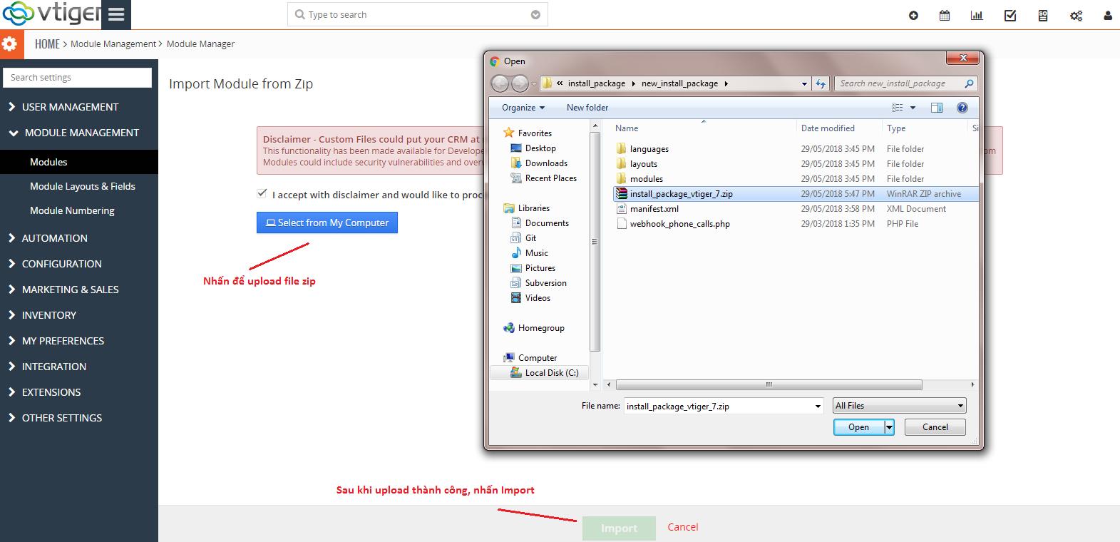 Hướng dẫn cài đặt module Taduphone trên Vtiger - Trợ giúp Tadu
